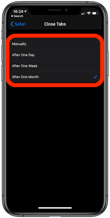 Tap the time after which you want to close tabs