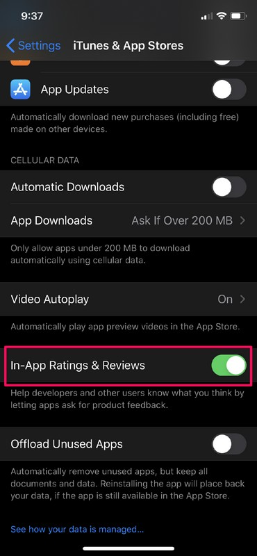 How to    Turn off IIn-App ratings and reviews