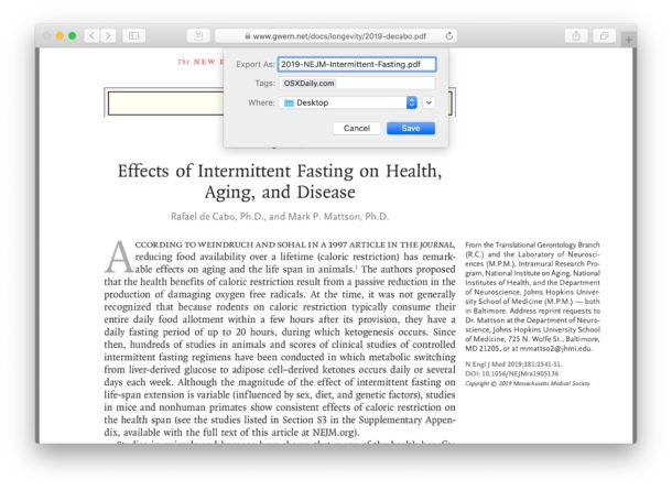 Save and download a pdf file from Safari to Mac