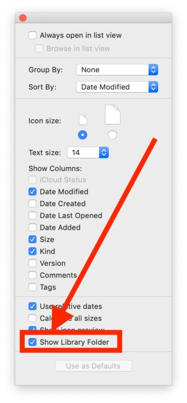 Show the User Library folder in MacOS
