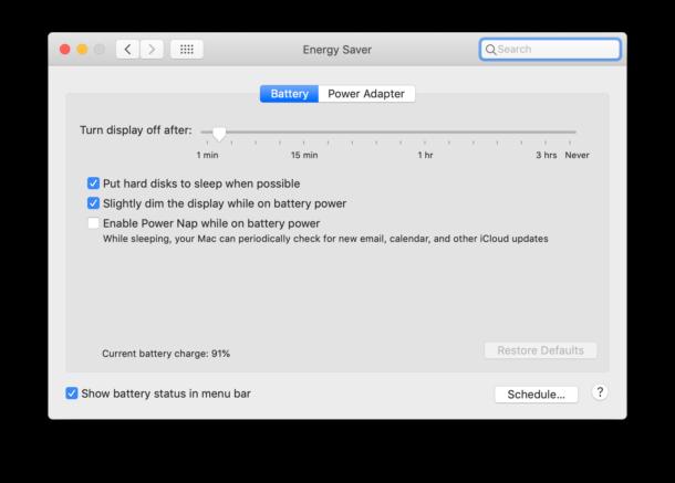 Mac power settings for Mac laptops on battery power