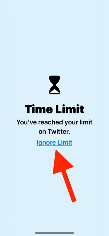 How to    ignore Time limit in Screen Time for iOS