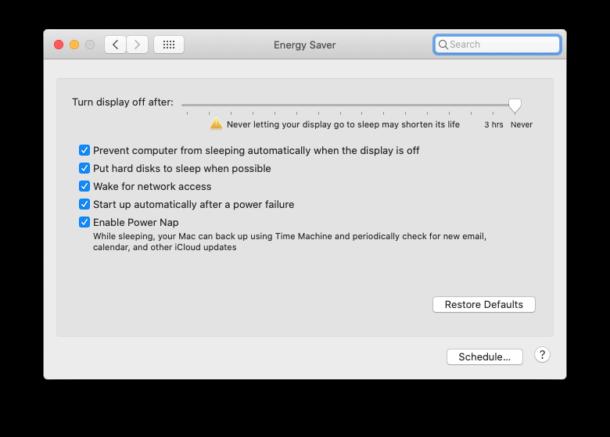 macOS Energy Saver settings on desktop Mac