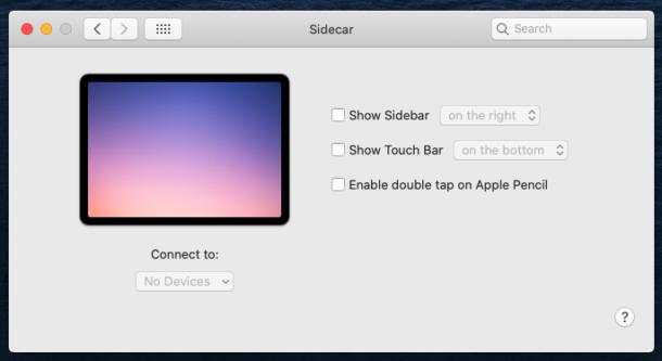 Sidecar settings panel