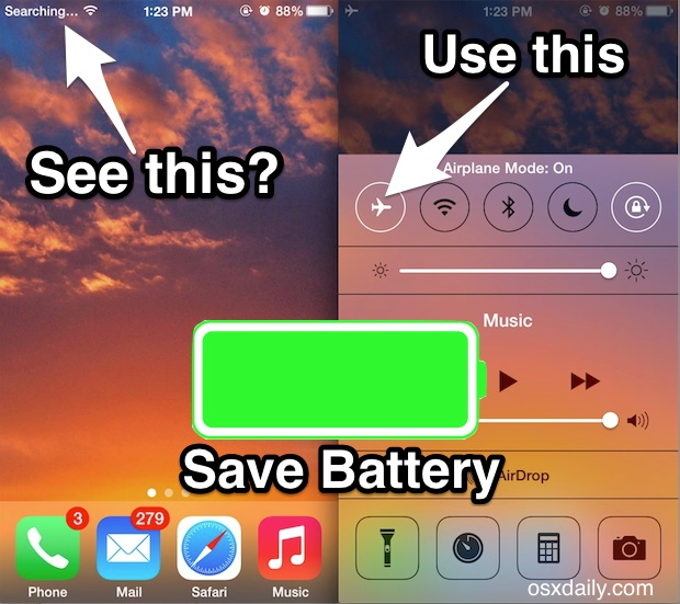 Save battery when iPhone searches for signal