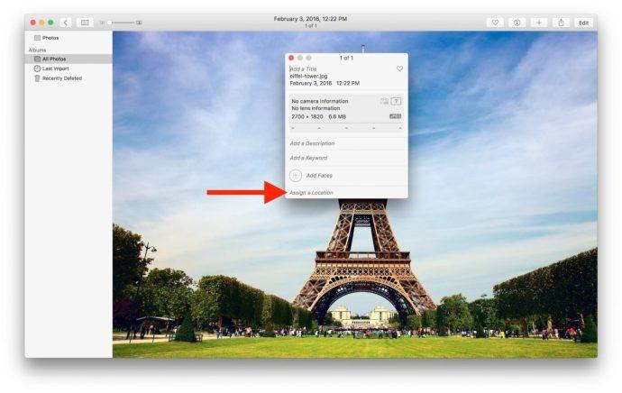assign photos for mac a location