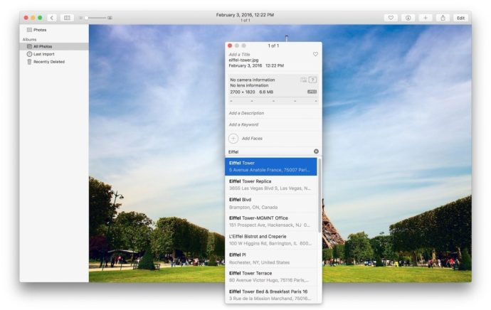 assign photos for mac location