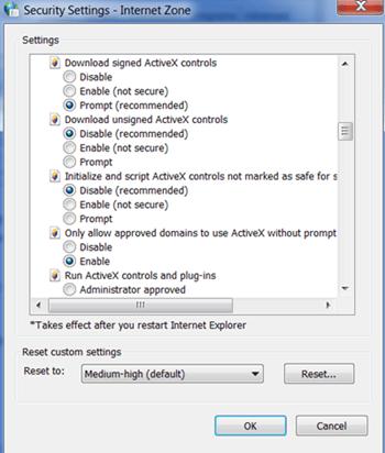 Enable ActiveX Config