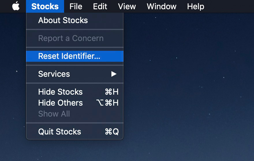 reset ID for mac