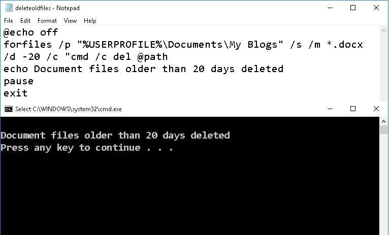 Delete old files with a batch script