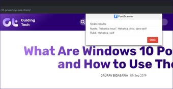 Chrome extensions identify fonts 12