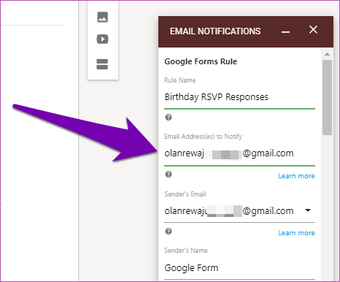 Receive Google Forms responses by email 11