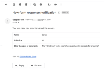 Receive Google Forms responses by email 17