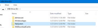 New folders on external drive