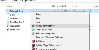 Edgeadblock Run as administrator