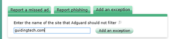 Adguard adds an exception