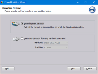 Select Extend system partition