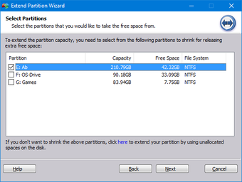 Select Partition to Shrink