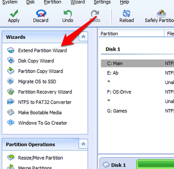 Select Extend Partition Wizard