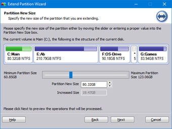 Drag to set the system partition