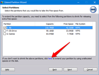 Select unallocated space link
