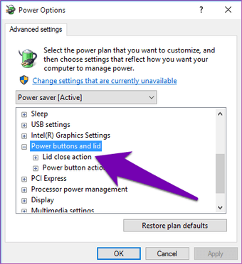 Adjust the Windows 10 10 lid close action settings