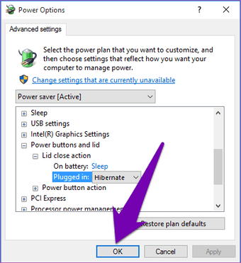 Adjust action settings settings for closing Windows 10 17