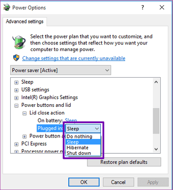 Adjust the Windows 10 lid close action settings 15