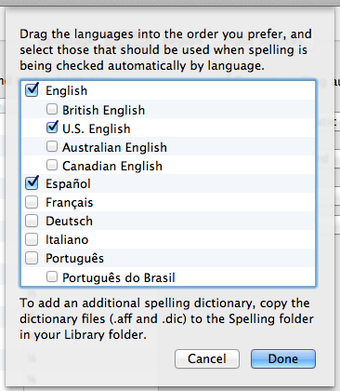Choose languages for spell checking