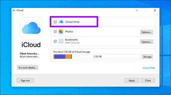 Icloud Drive does not sync Windows 10 1