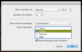 I Photo calendar settings