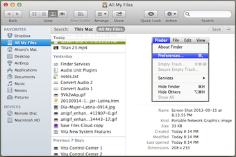 Finder All My Files Optimal