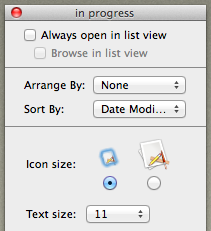 Options for viewing the Finder window 1