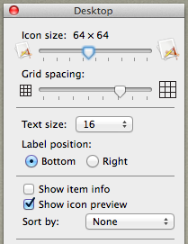 Desktop settings after