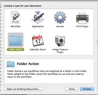 Automator folder action