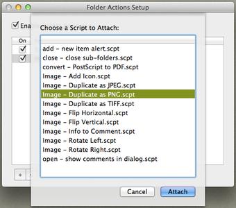 Folder actions chose the script