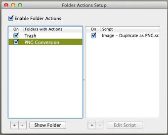 Script of chosen folder actions