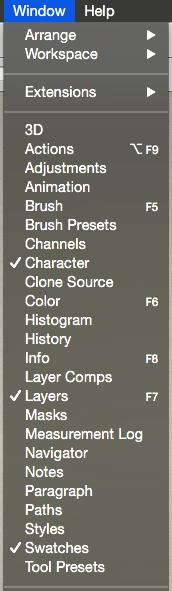 Photoshop window menu