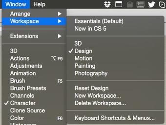 Photoshop workspaces menu